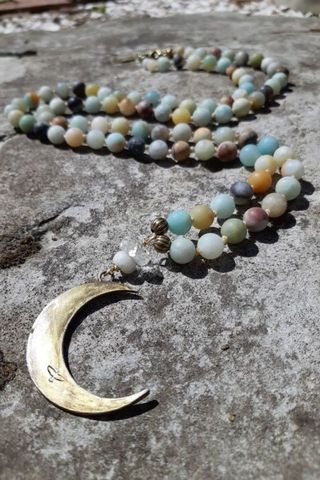 Amazonite Rope Necklace with Waning Crescent Moon