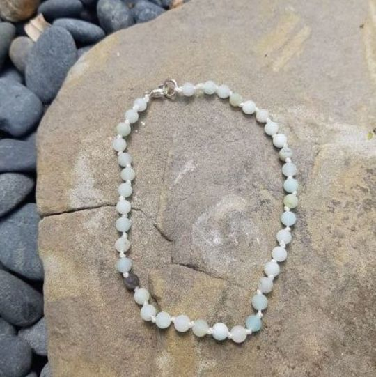 amazonite and sterling silver anklet