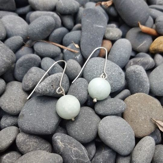 Amazonite and argentium drop earrings