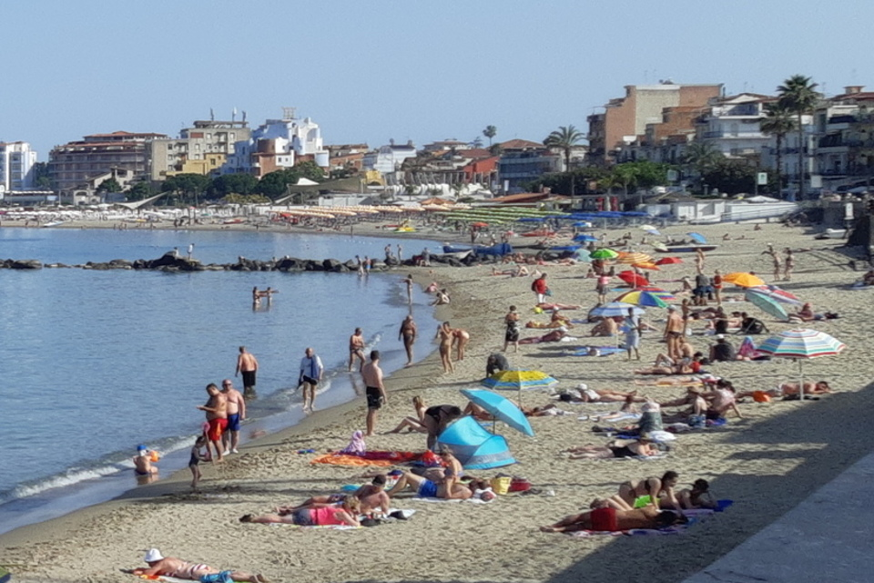 Crowded beach in Sicily