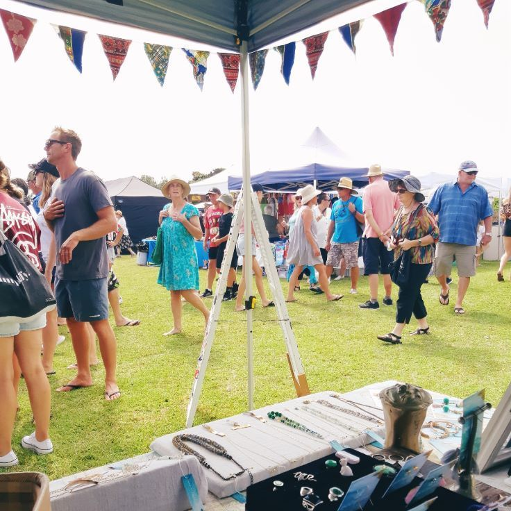 Selling jewellery at the Waihi Beach Summer Fair